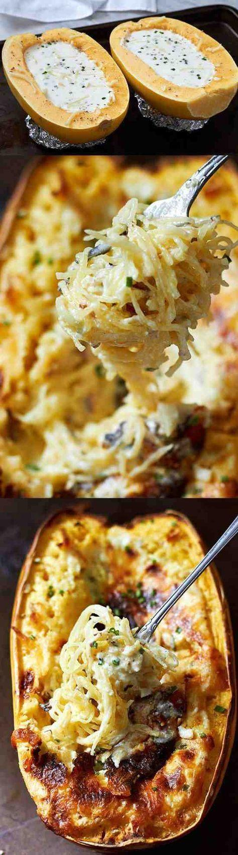 Baked Four Cheese Garlic Spaghetti Squash. Stuffed with a creamy garlic and 4-cheese sauce, super easy to make!