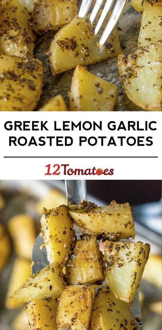 Greek Lemon Garlic Roasted Potatoes... by 12 Tomatoes