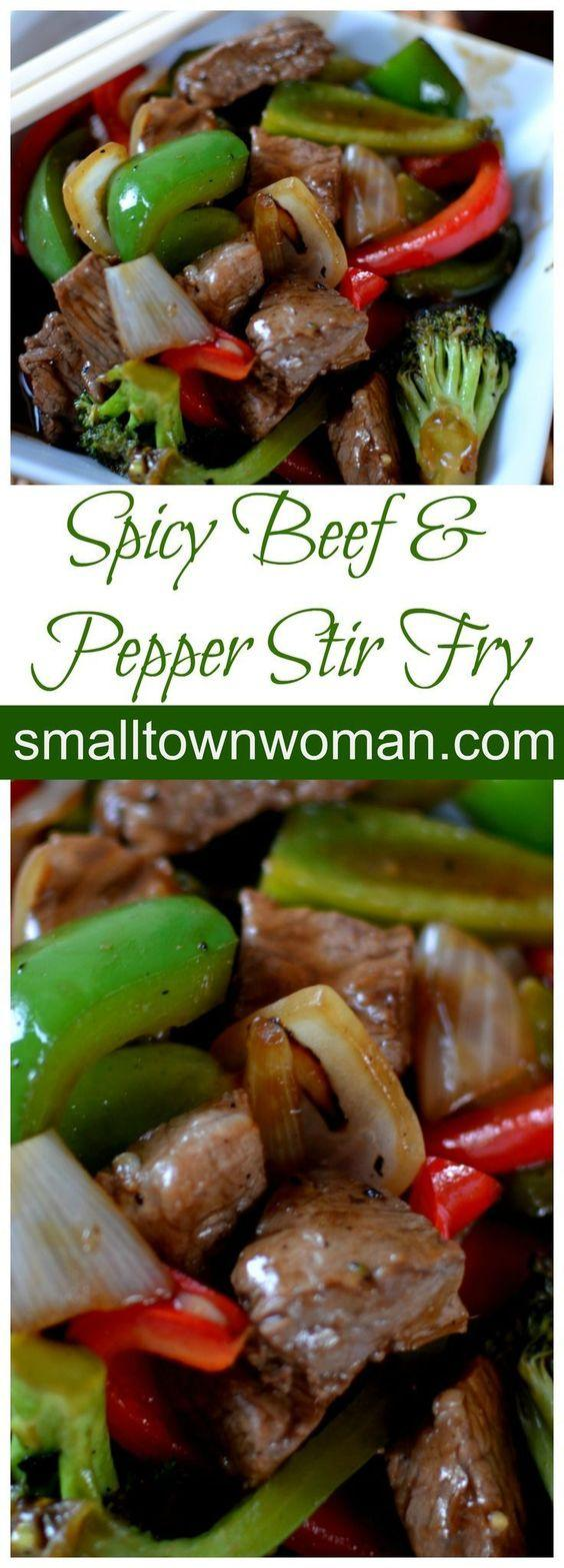 Spicy Beef and Pepper Stir-Fry by Small Town Woman. Cut your veggies ahead of time and keep your wok extremely hot stir-fry is a piece of cake!