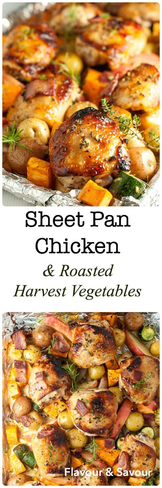 Vegetable Recipes For Kids || Kid Friendly Vegetable Recipes. Bacon, apples and fresh herbs flavour this dinner of Sheet Pan Chicken and Roasted Harvest Vegetables. Crispy chicken and roasted vegetables make a complete meal, made in one pan, baked in just 30 minutes. You can find the recipe from Flavour and Savour.