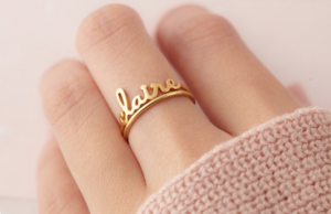 Centime Gift Stackable Name Rings. Find out more on Embellishmints.com